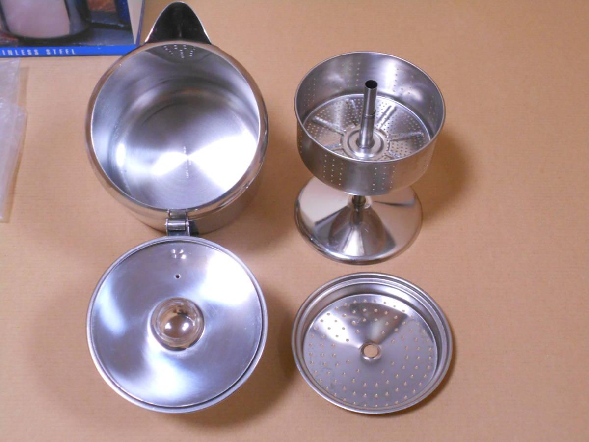 ■GSI 6カップ ステンレス パーコレーター ケトル 1度の使用 検/モチヅキ コーヒー 木製 ウッドハンドル_画像2