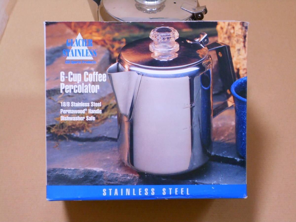 ■GSI 6カップ ステンレス パーコレーター ケトル 1度の使用 検/モチヅキ コーヒー 木製 ウッドハンドル_画像8