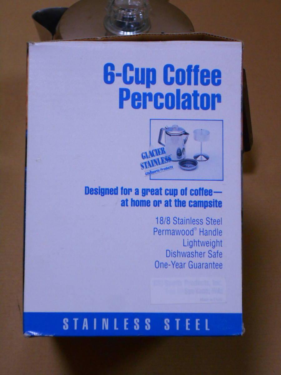 ■GSI 6カップ ステンレス パーコレーター ケトル 1度の使用 検/モチヅキ コーヒー 木製 ウッドハンドル_画像9