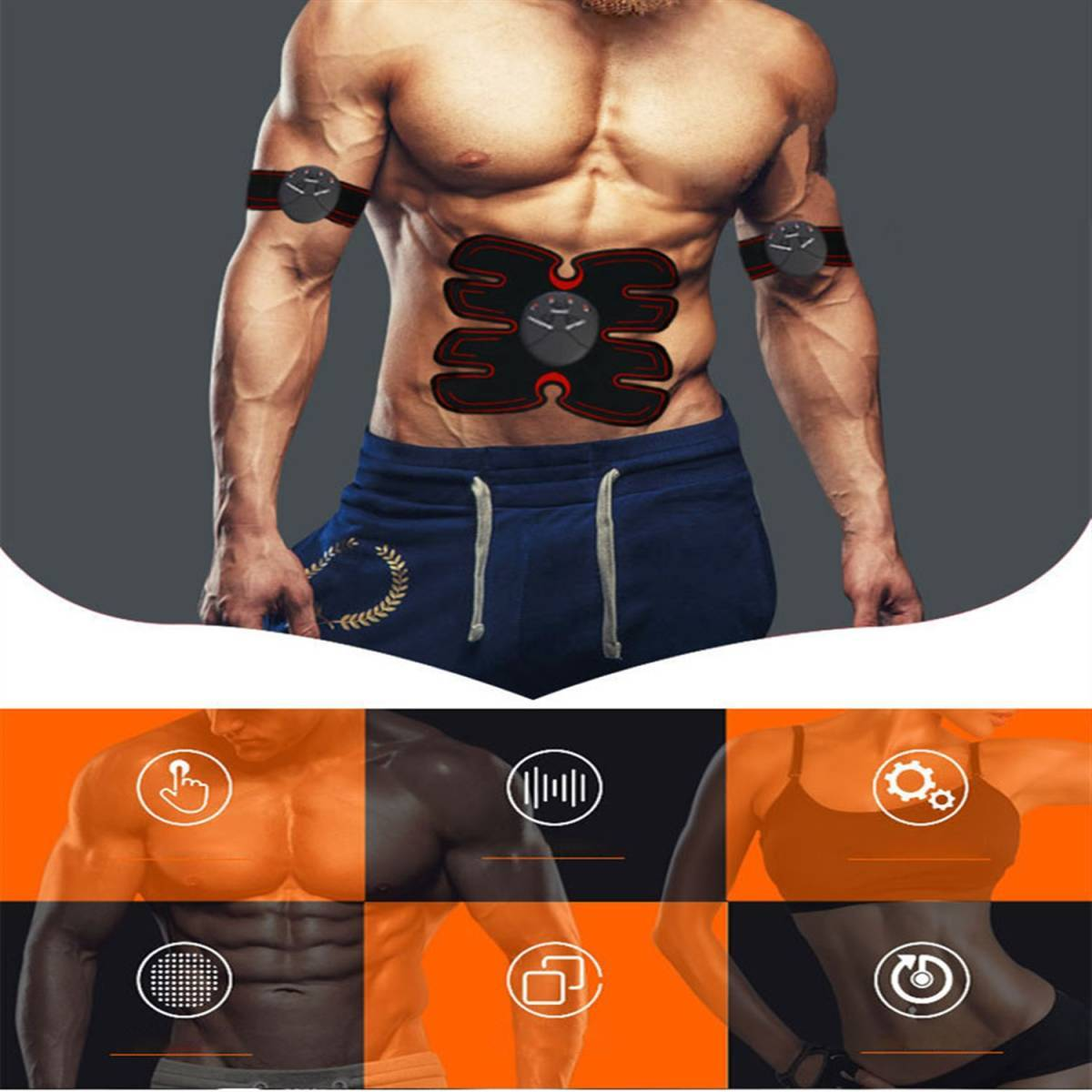 EMS 腹筋ベルト 腹筋マシーン 腹筋パッド 太もも 腕筋 筋トレ器具 ダイエット USB充電式 マッサージ エクササイズ 男女兼用 新品 _画像6