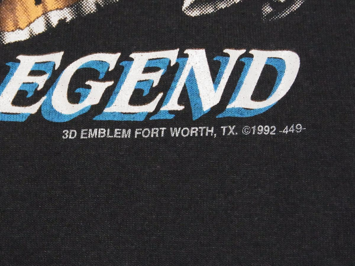 ☆ 90s USA製 ビンテージ 3D EMBLEM Harley-Davidson ハーレーダビッドソン LIVE THE LEGEND Tシャツ sizeM 黒 ☆古着 オールド 80s HAWG_画像5