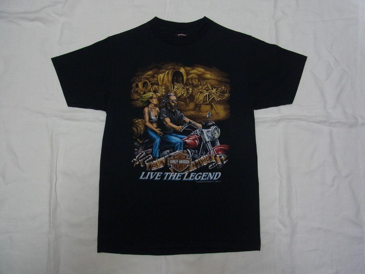 ☆ 90s USA製 ビンテージ 3D EMBLEM Harley-Davidson ハーレーダビッドソン LIVE THE LEGEND Tシャツ sizeM 黒 ☆古着 オールド 80s HAWG