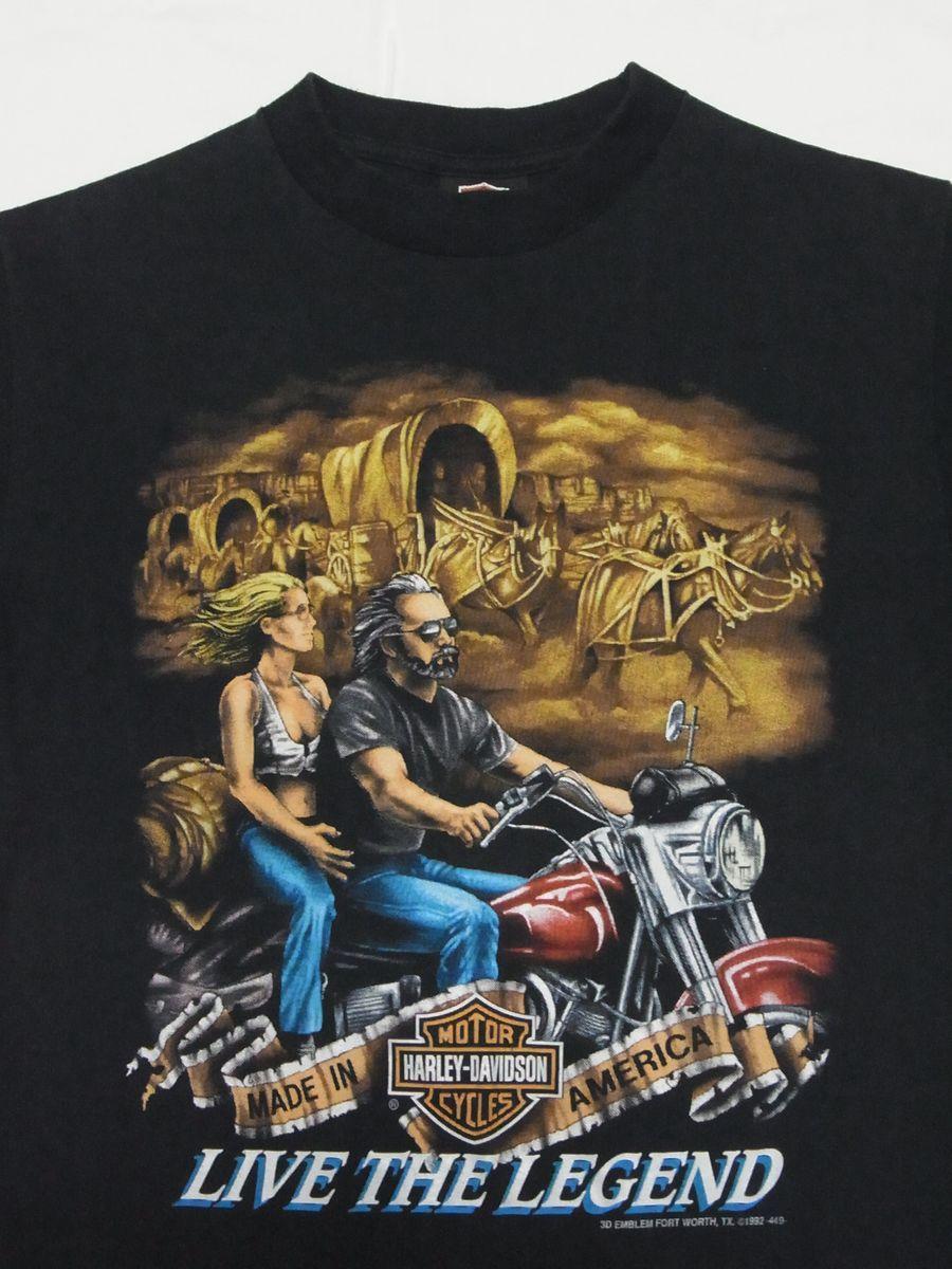 ☆ 90s USA製 ビンテージ 3D EMBLEM Harley-Davidson ハーレーダビッドソン LIVE THE LEGEND Tシャツ sizeM 黒 ☆古着 オールド 80s HAWG_画像2