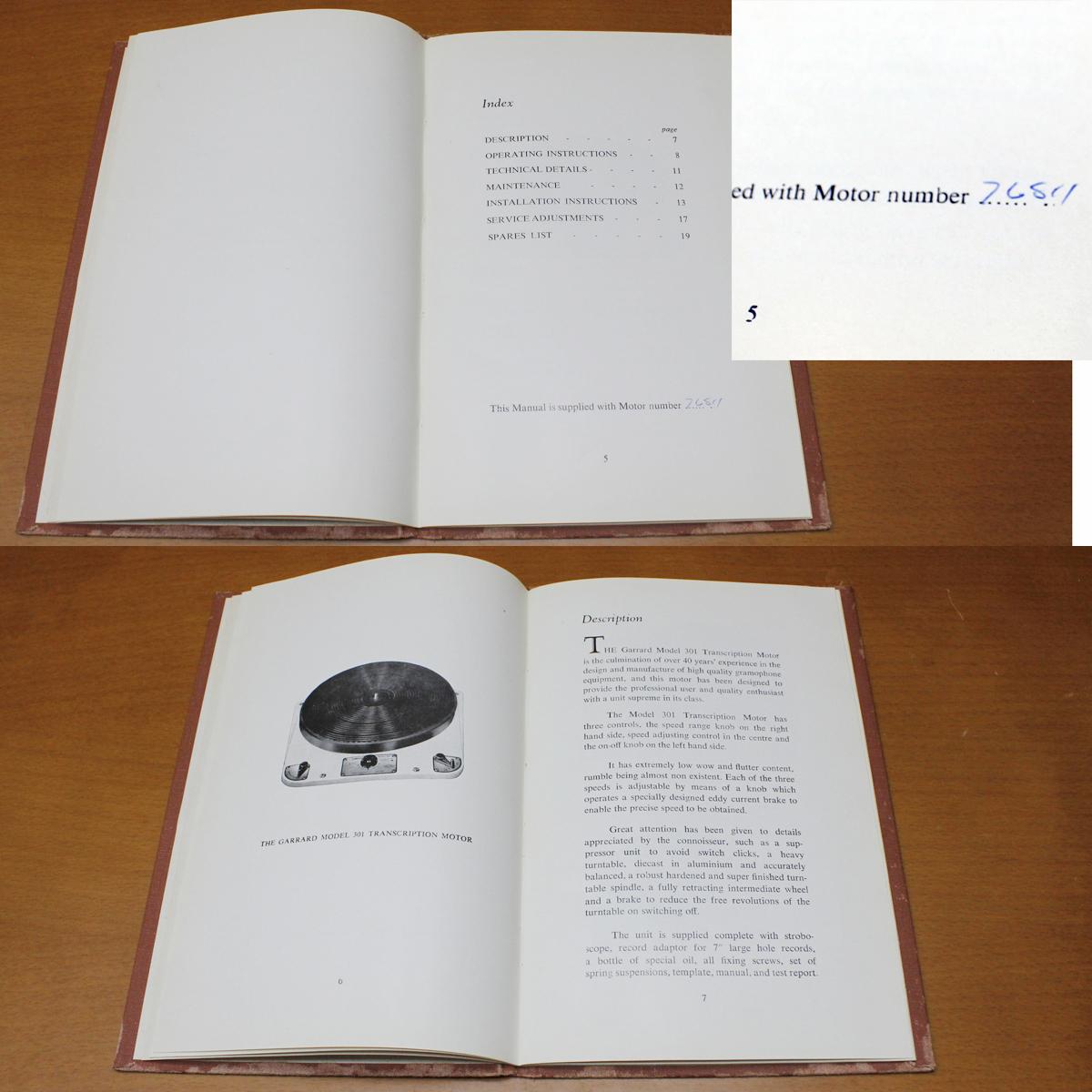 GARRARD301 manual[SN:768○○番台(星7)]ガラード英文取扱説明書 マニュアル おまけ日本語解説コピー付き_画像6
