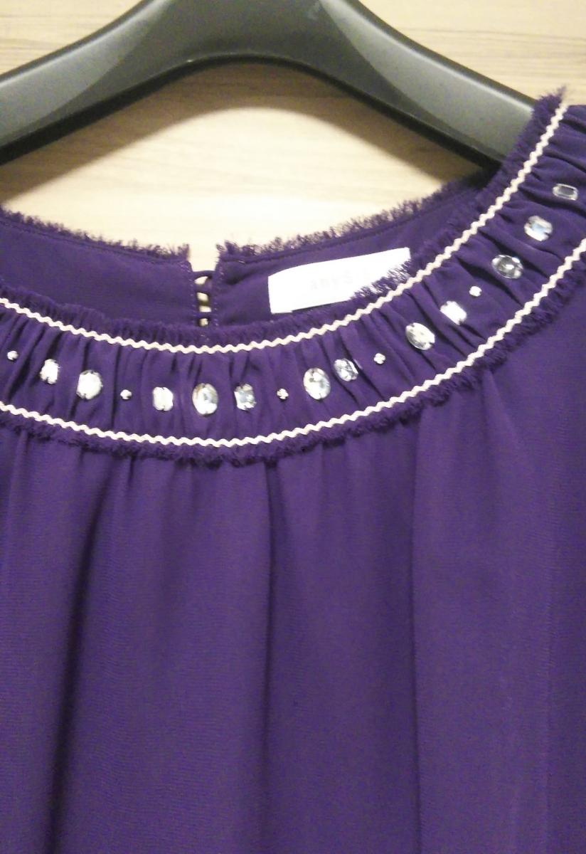 紫色半袖ブラウス カットソー トップス
