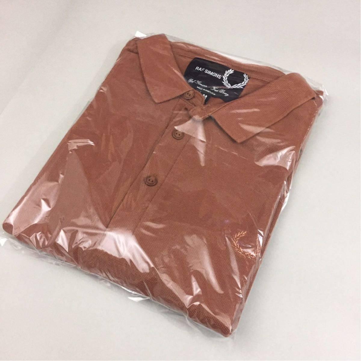 【コラボ】フレッドペリー FRED PERRY ラフシモンズ RAF SIMONS ポロシャツ 半袖 鹿の子 メンズ Mサイズ ブラウン ロゴ 刺繍 ~▽_画像10