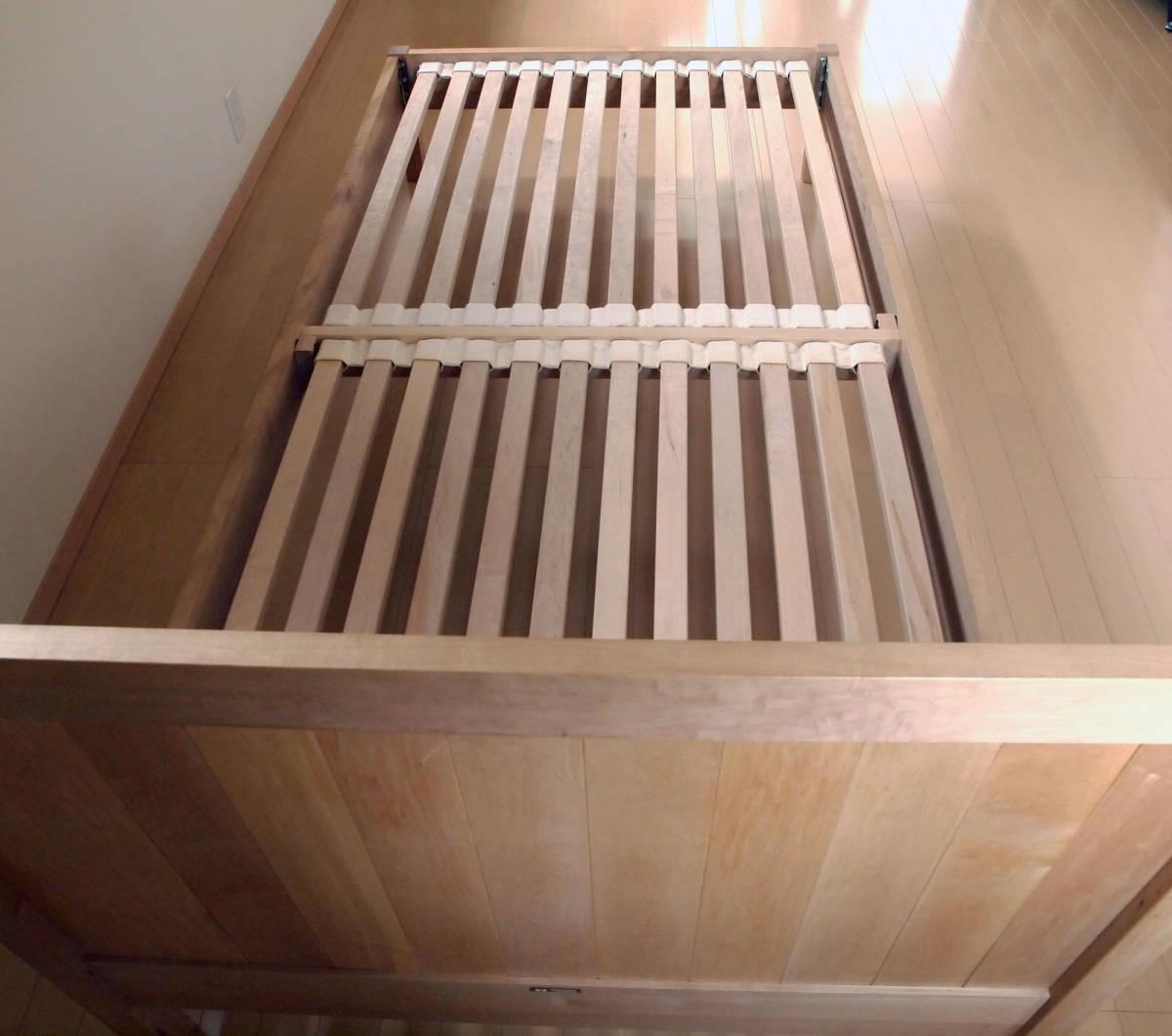 北の住まい設計社製 メープル無垢材 シングル すのこベッドフレーム 中古×2台_画像3