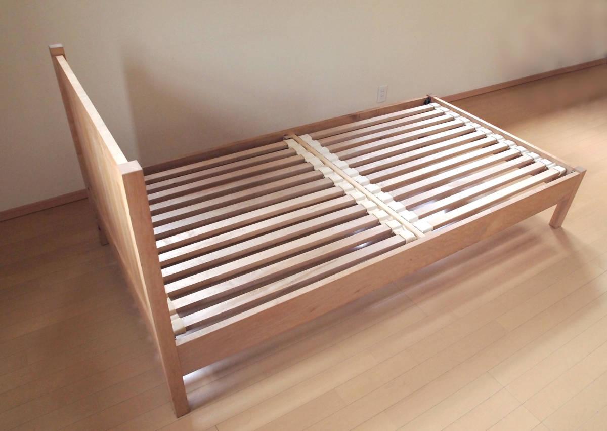 北の住まい設計社製 メープル無垢材 シングル すのこベッドフレーム 中古×2台_画像2