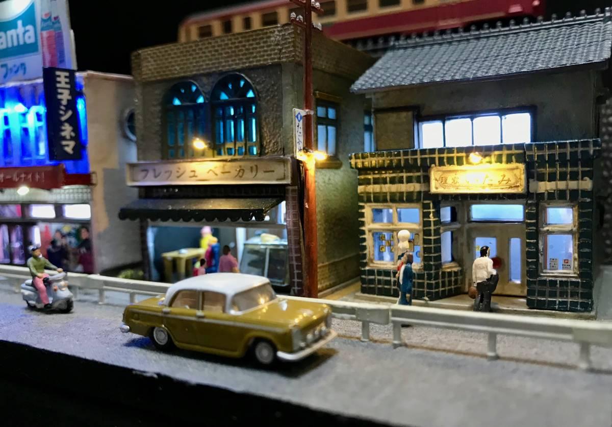 1/150ジオラマ 横幅355㎜ワイドタイプ 「昭和の一コマ」 LEDライトアップ クリアケース付_画像8