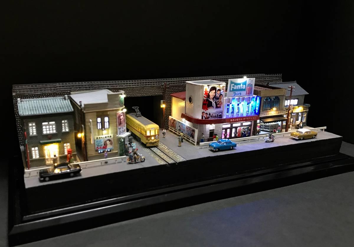 1/150ジオラマ 横幅355㎜ワイドタイプ 「昭和の一コマ」 LEDライトアップ クリアケース付_画像3