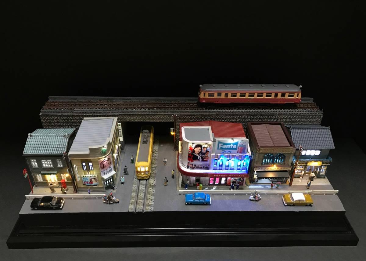 1/150ジオラマ 横幅355㎜ワイドタイプ 「昭和の一コマ」 LEDライトアップ クリアケース付_画像5