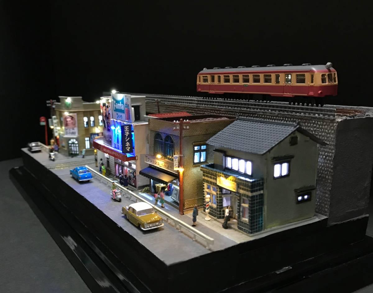 1/150ジオラマ 横幅355㎜ワイドタイプ 「昭和の一コマ」 LEDライトアップ クリアケース付_画像7