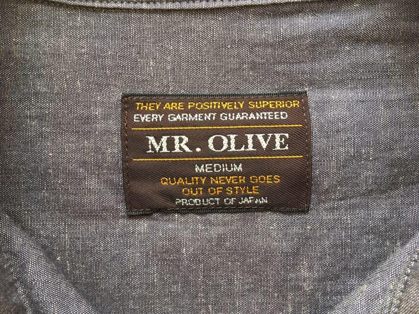 【日本製】MR.OLIVE ミスターオリーブ ヴィンテージ風長袖シャツスラブシャンブレー刺繍チャコールグレーM/半袖Tパンツハリランエヌハリ_画像8