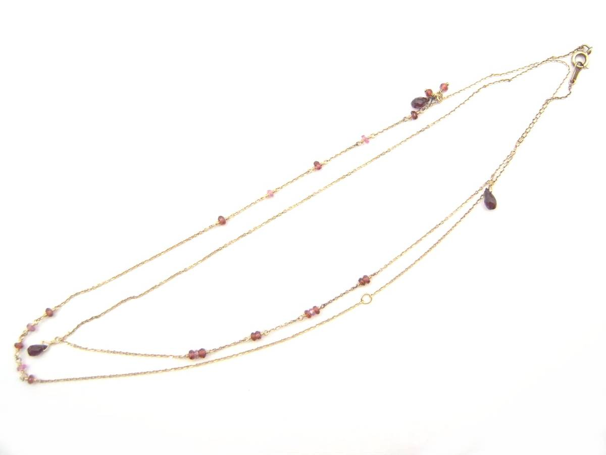 apa849★【agete/アガット】SV ガーネット ロング ネックレス 約80.5cm トップ縦約1cm アシンメトリー_画像8