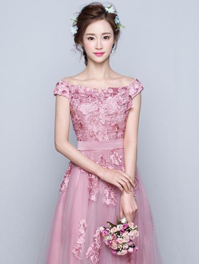 花嫁結婚敬酒服2019新しいピンクの婚約結婚ドレス帰ってくるディナーロングのワンピース H-149_画像2