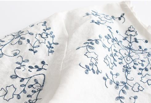 超人気☆ 美品登場☆**着心地のいい !リネン 綿 刺繍 プルオーバー バルーン袖 着痩せ 着心地良い 長袖チュニック ▲ホワイト/白 k-47_画像3