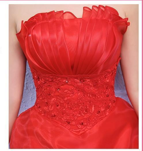 イブニングドレスイブニングドレスウエディングドレス2019春夏新韓式花嫁結婚ーズ赤レーススリム中長綺麗セクシーフェアリースカート K75_画像9