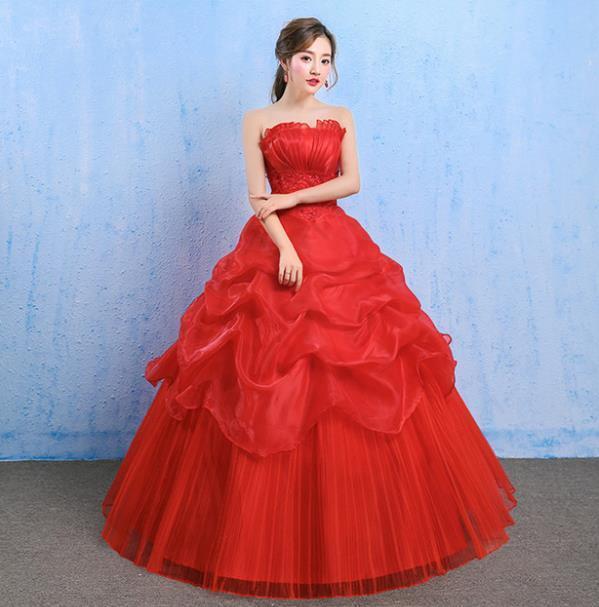 イブニングドレスイブニングドレスウエディングドレス2019春夏新韓式花嫁結婚ーズ赤レーススリム中長綺麗セクシーフェアリースカート K75_画像2