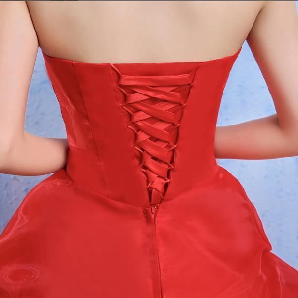 イブニングドレスイブニングドレスウエディングドレス2019春夏新韓式花嫁結婚ーズ赤レーススリム中長綺麗セクシーフェアリースカート K75_画像3