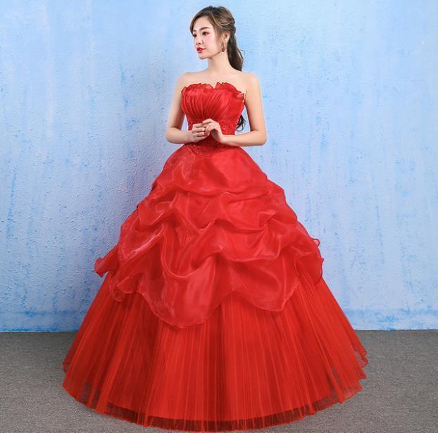 イブニングドレスイブニングドレスウエディングドレス2019春夏新韓式花嫁結婚ーズ赤レーススリム中長綺麗セクシーフェアリースカート K75_画像5