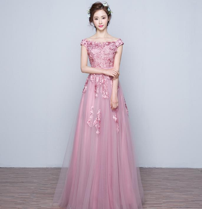 花嫁結婚敬酒服2019新しいピンクの婚約結婚ドレス帰ってくるディナーロングのワンピース H-149