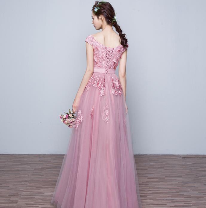 花嫁結婚敬酒服2019新しいピンクの婚約結婚ドレス帰ってくるディナーロングのワンピース H-149_画像4