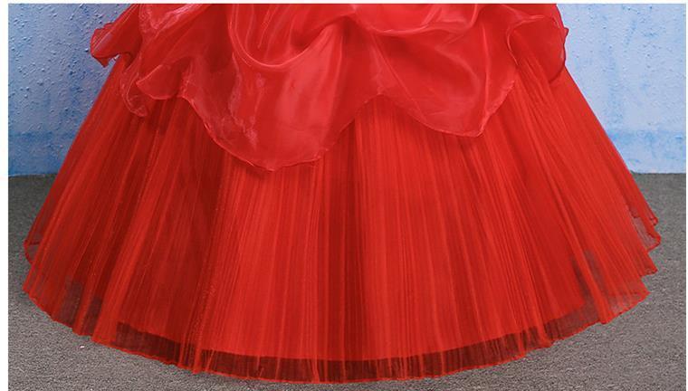 イブニングドレスイブニングドレスウエディングドレス2019春夏新韓式花嫁結婚ーズ赤レーススリム中長綺麗セクシーフェアリースカート K75_画像6