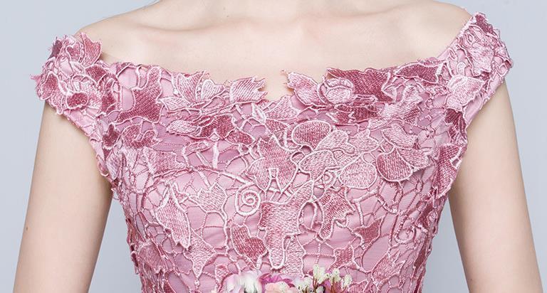 花嫁結婚敬酒服2019新しいピンクの婚約結婚ドレス帰ってくるディナーロングのワンピース H-149_画像6