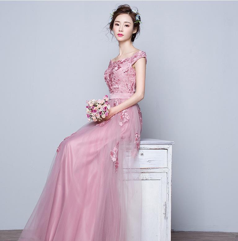 花嫁結婚敬酒服2019新しいピンクの婚約結婚ドレス帰ってくるディナーロングのワンピース H-149_画像5