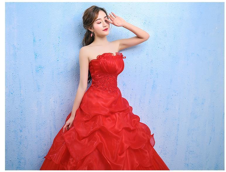 イブニングドレスイブニングドレスウエディングドレス2019春夏新韓式花嫁結婚ーズ赤レーススリム中長綺麗セクシーフェアリースカート K75_画像7