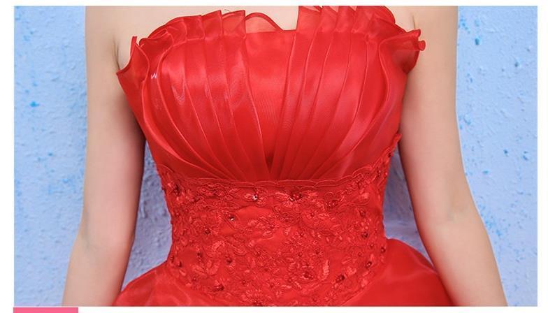 イブニングドレスイブニングドレスウエディングドレス2019春夏新韓式花嫁結婚ーズ赤レーススリム中長綺麗セクシーフェアリースカート K75_画像8
