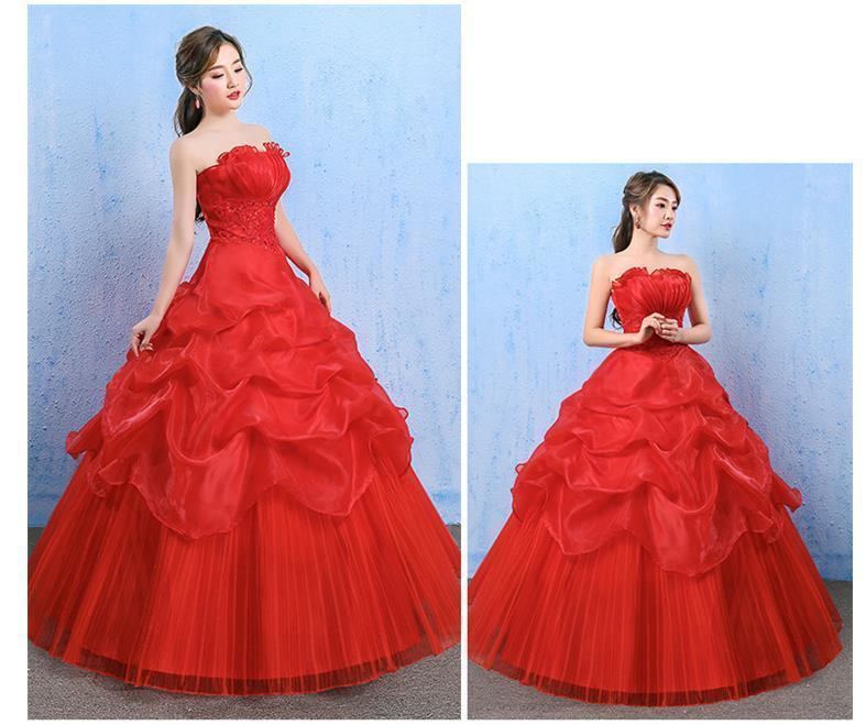 イブニングドレスイブニングドレスウエディングドレス2019春夏新韓式花嫁結婚ーズ赤レーススリム中長綺麗セクシーフェアリースカート K75