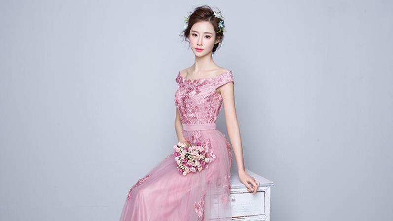 花嫁結婚敬酒服2019新しいピンクの婚約結婚ドレス帰ってくるディナーロングのワンピース H-149_画像8