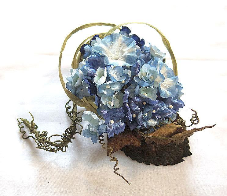 カネコイサオ 紫陽花とアサガオのコサージュ_画像2