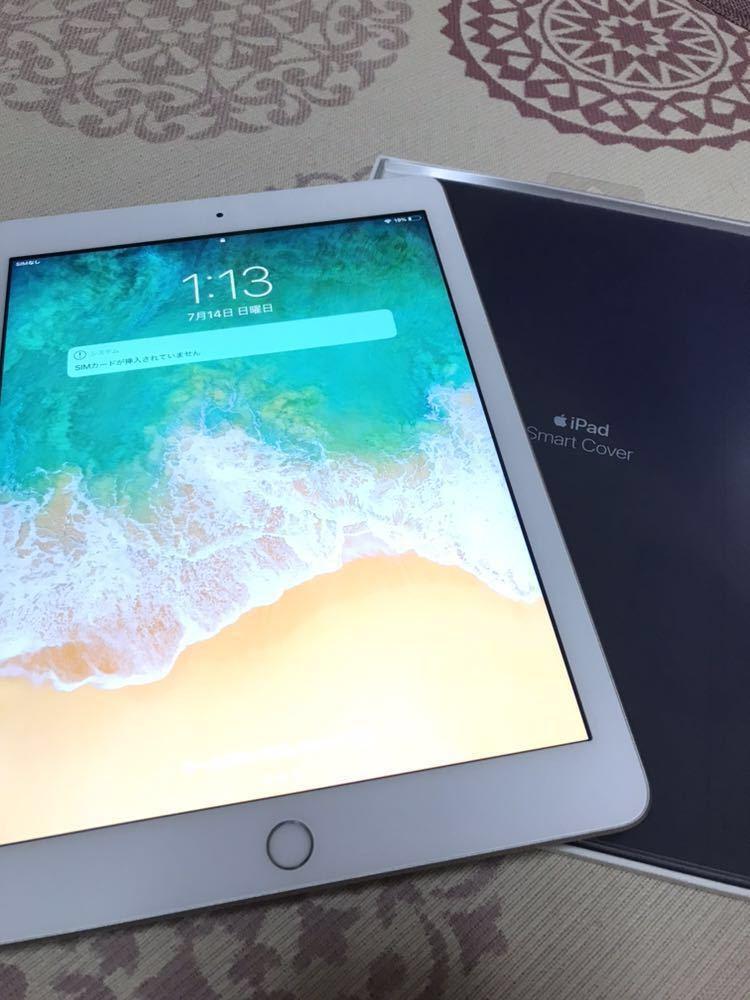 美品 iPad 第5世代 Wi-fi Cellular 2017 SIM フリー 128GB 純正スマートカバー付 MP272J/A シルバー