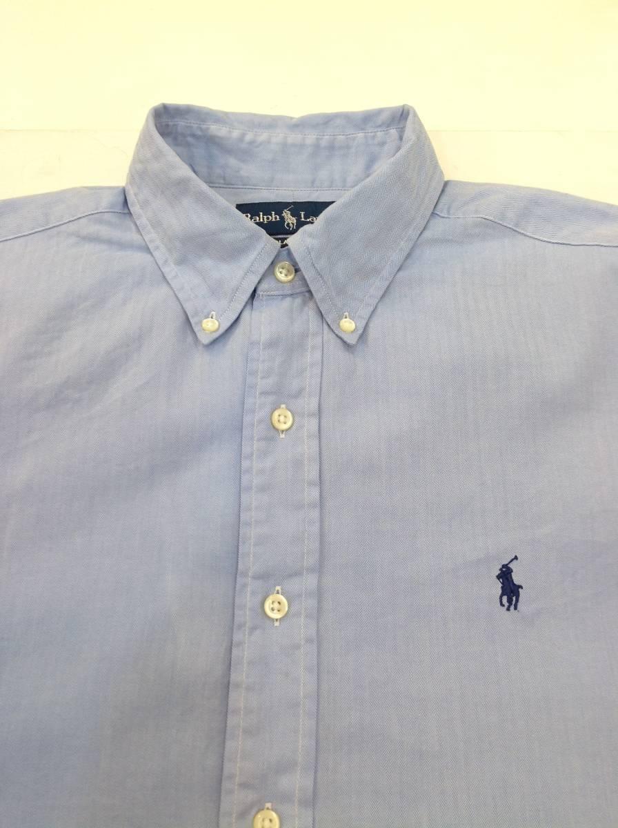 1000円スタート 良品綺麗 RalphLauren ラルフローレン コットン長袖シャツ メンズL~XL 大きめ 薄い青