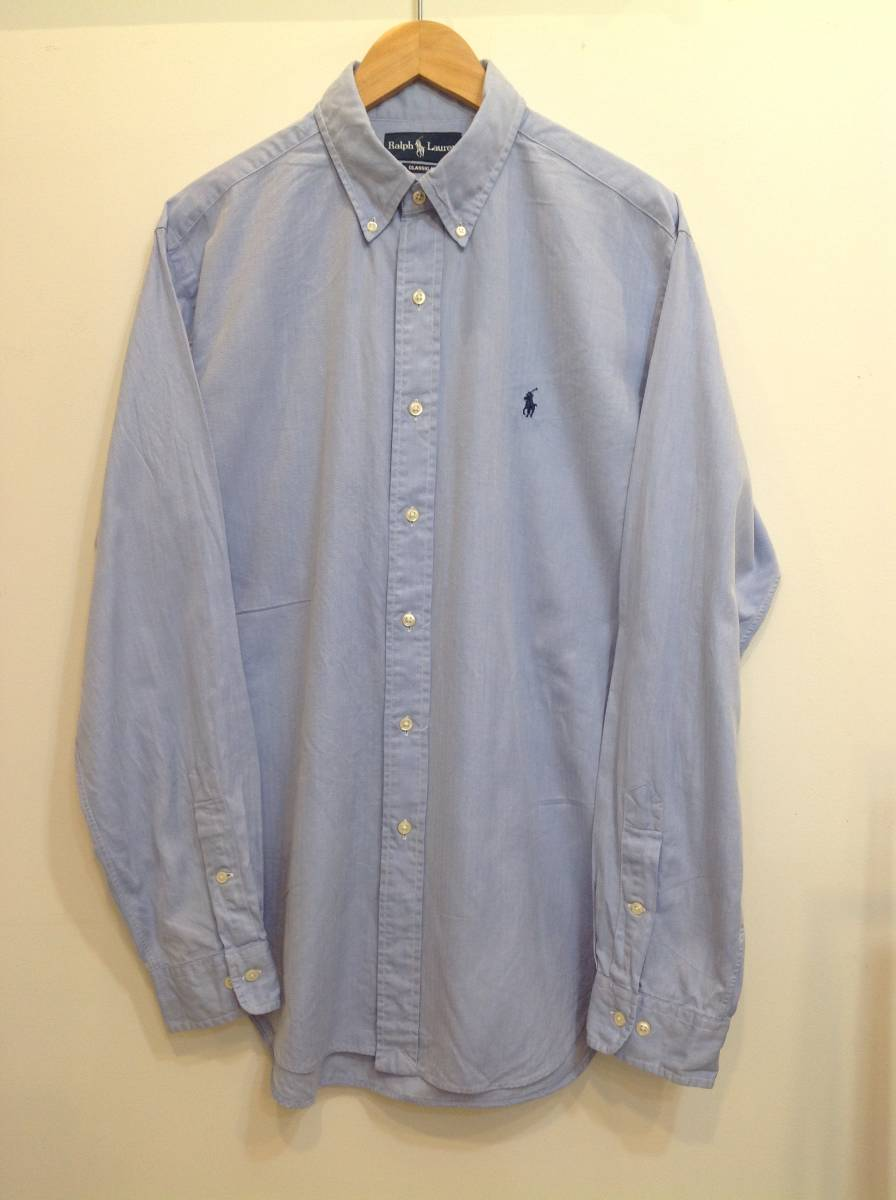 1000円スタート 良品綺麗 RalphLauren ラルフローレン コットン長袖シャツ メンズL~XL 大きめ 薄い青_画像2