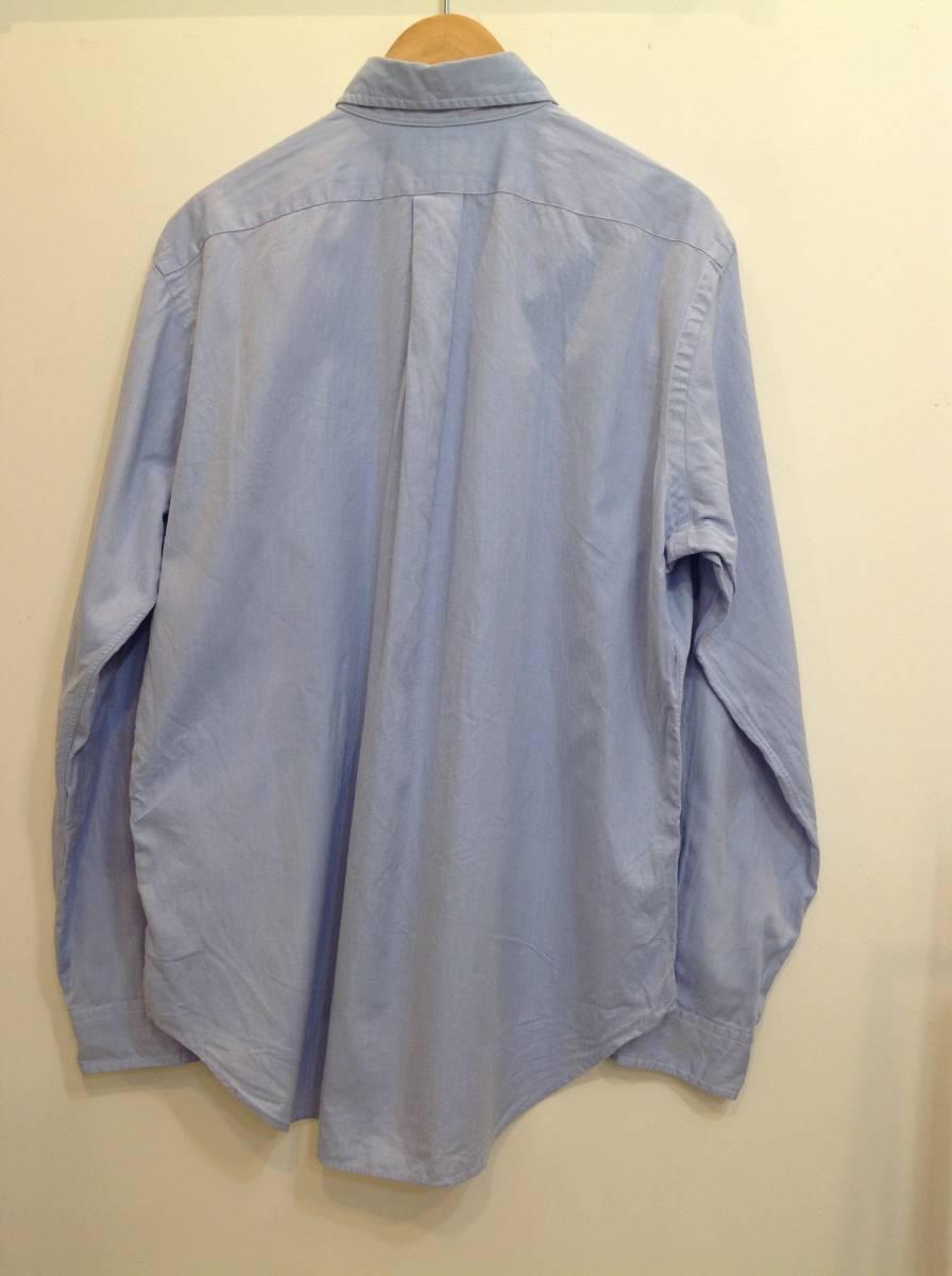 1000円スタート 良品綺麗 RalphLauren ラルフローレン コットン長袖シャツ メンズL~XL 大きめ 薄い青_画像3