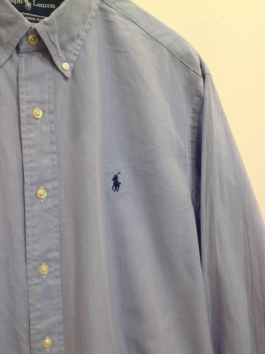 1000円スタート 良品綺麗 RalphLauren ラルフローレン コットン長袖シャツ メンズL~XL 大きめ 薄い青_画像5