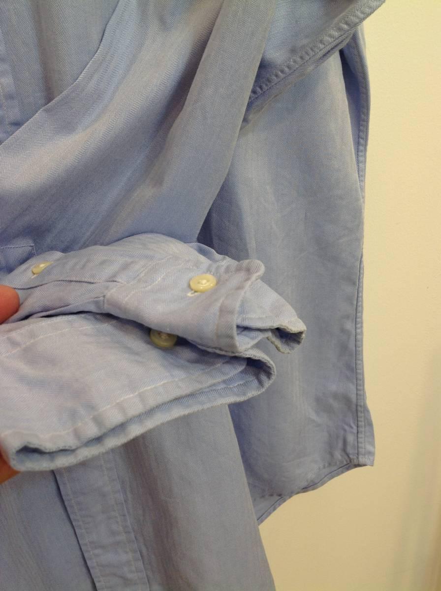 1000円スタート 良品綺麗 RalphLauren ラルフローレン コットン長袖シャツ メンズL~XL 大きめ 薄い青_画像8