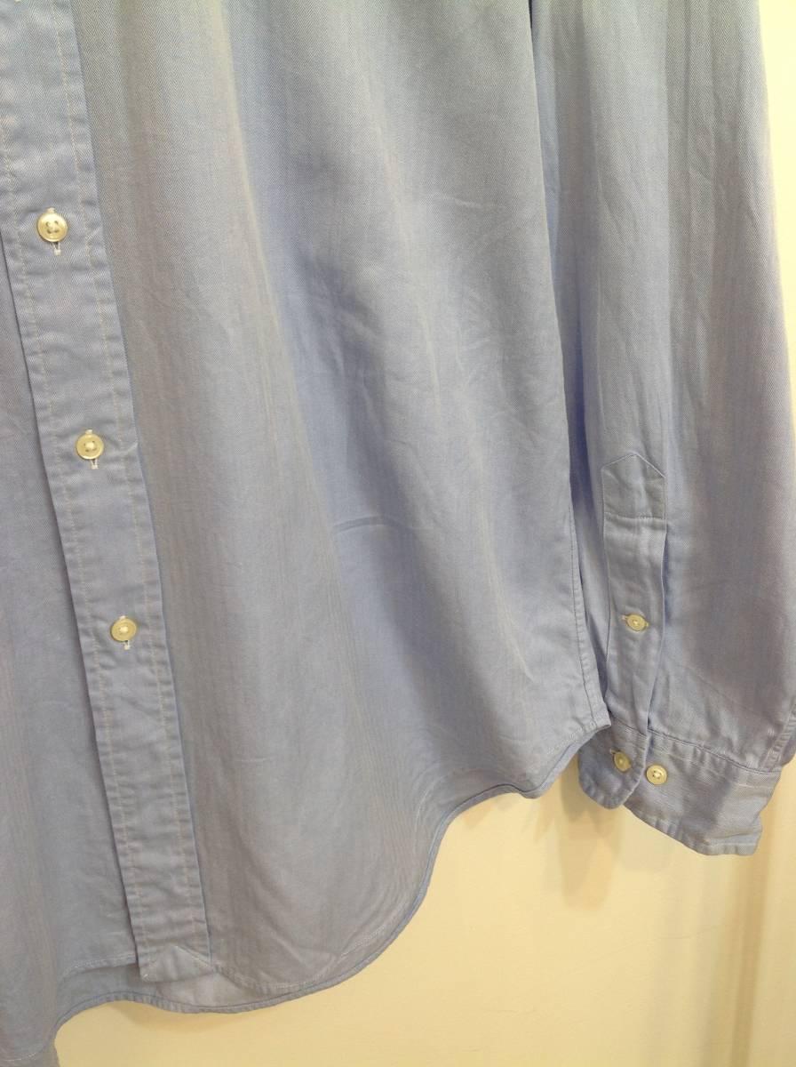 1000円スタート 良品綺麗 RalphLauren ラルフローレン コットン長袖シャツ メンズL~XL 大きめ 薄い青_画像4