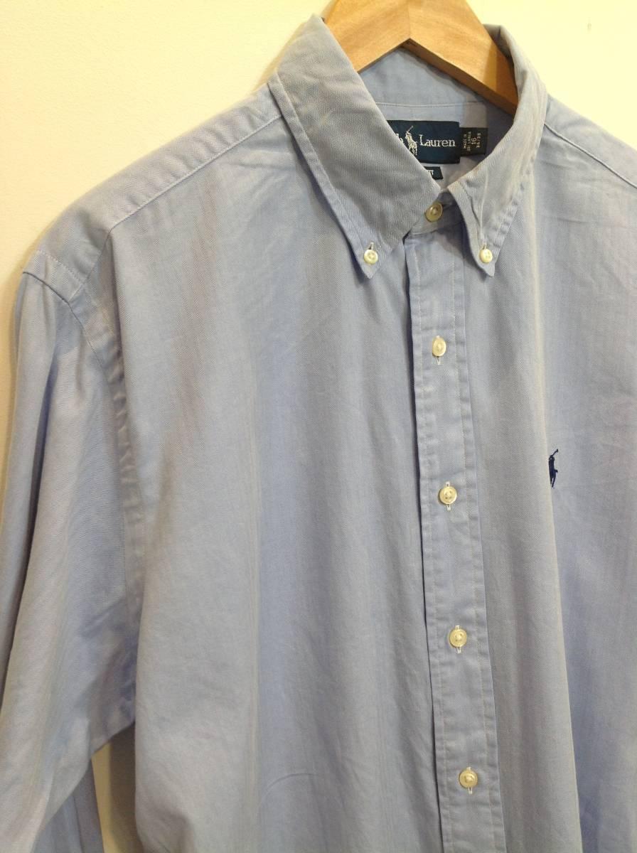 1000円スタート 良品綺麗 RalphLauren ラルフローレン コットン長袖シャツ メンズL~XL 大きめ 薄い青_画像6