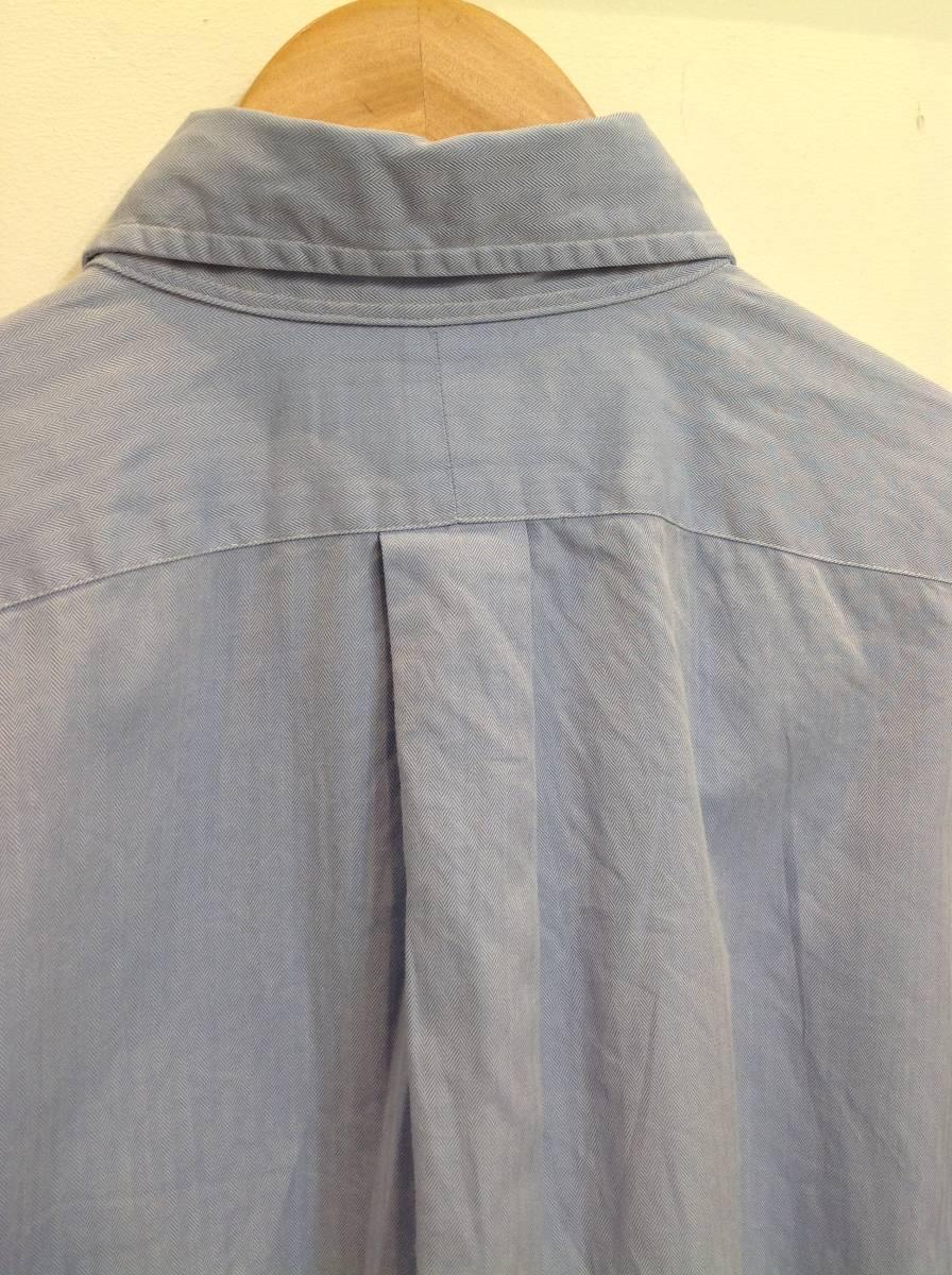 1000円スタート 良品綺麗 RalphLauren ラルフローレン コットン長袖シャツ メンズL~XL 大きめ 薄い青_画像9
