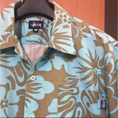 希少『STUSSY』90s USA製 花柄シャツ VINTAGE ステューシー ビンテージ ストリートアロハシャツ ハワイアンシャツ 半袖シャツ_画像2