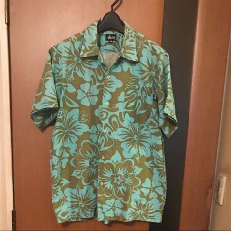 希少『STUSSY』90s USA製 花柄シャツ VINTAGE ステューシー ビンテージ ストリートアロハシャツ ハワイアンシャツ 半袖シャツ_画像1