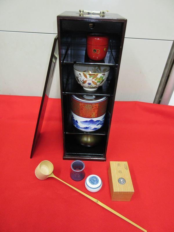 ★☆新品 茶道具■短冊箱セット・朱茶箱☆★