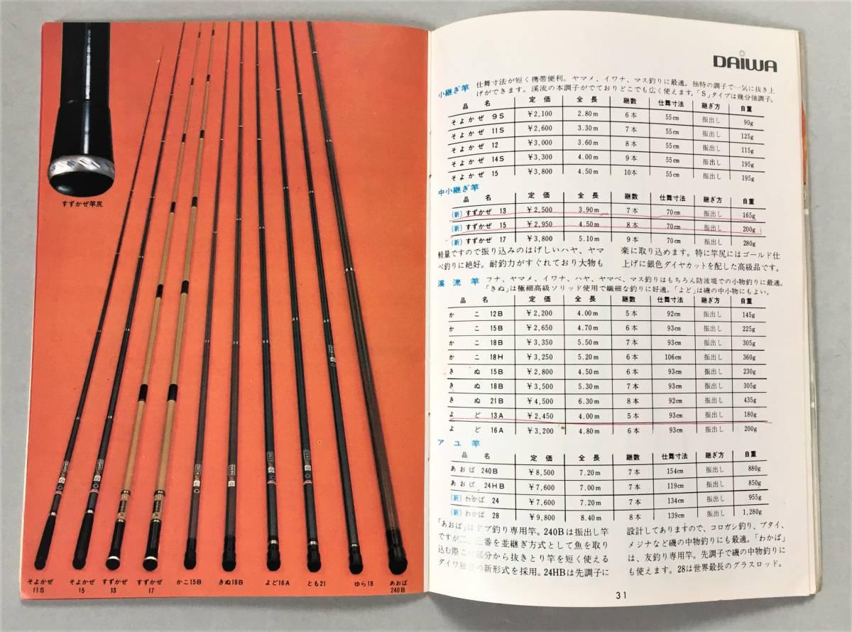 ダイワ DAIWA'69年総合カタログ B6版フルカラー48頁 スポーツ・パンチシリーズスピニングリーズ ペンリール けんざき・むさし竿_画像6
