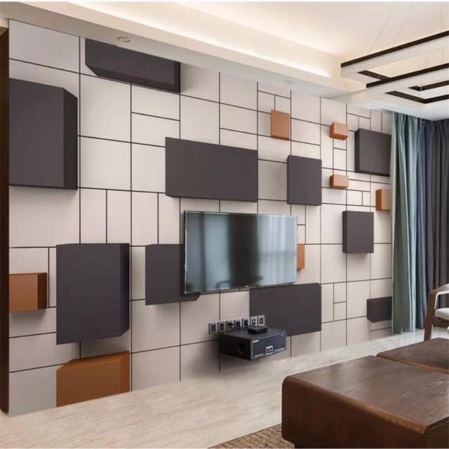 カスタム壁画 3d 壁紙ステレオ現代新中国キューブレンガの壁テレビの背景の壁論文の家の装飾 papel デ parede 壁画_画像1