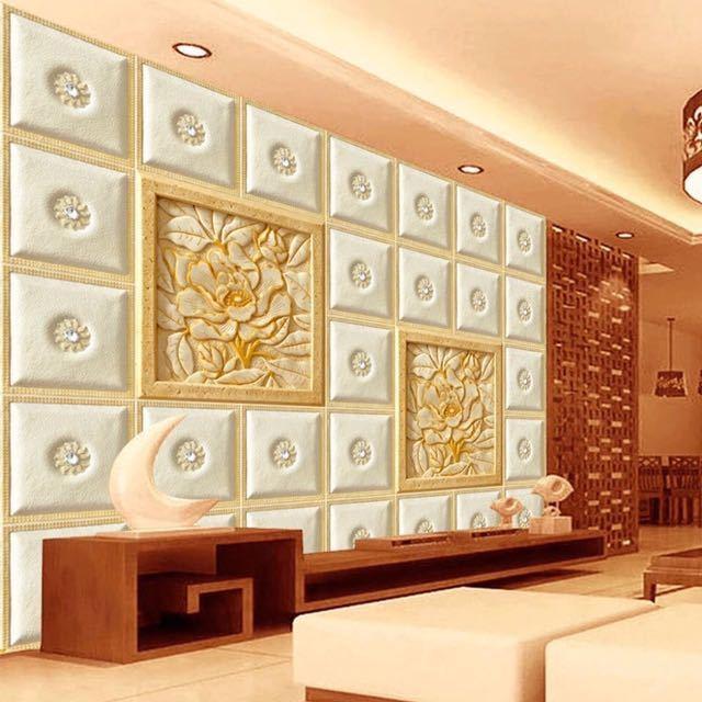 ヨーロッパスタイルグリッド彫刻花写真壁画リビングルームのテレビのソファの背景現代のシンプルな家の装飾カスタム 3D 壁紙 Wall papper_画像1