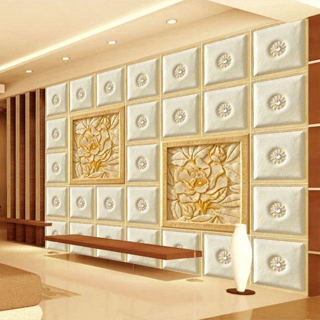 ヨーロッパスタイルグリッド彫刻花写真壁画リビングルームのテレビのソファの背景現代のシンプルな家の装飾カスタム 3D 壁紙 Wall papper_画像2